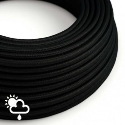 Cable eléctrico para exterior redondo revestido en tejido Rayón Negro SM04
