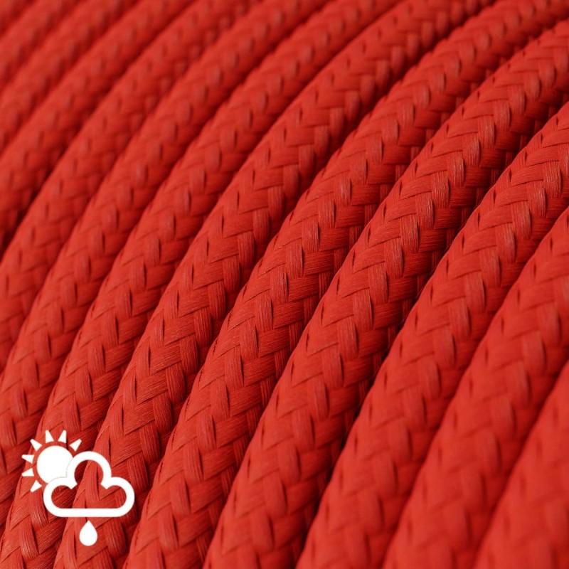 Cable eléctrico para exterior redondo revestido en tejido Rayón Rojo SM09