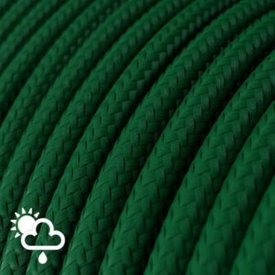 Cable eléctrico para exterior redondo revestido en tejido Rayón Verde Oscuro SM21
