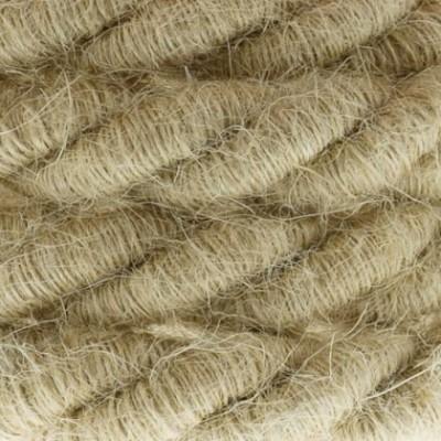 Cordón XL, cable eléctrico 3x0,75, recubierto en yute en bruto. Diámetro: 16mm.