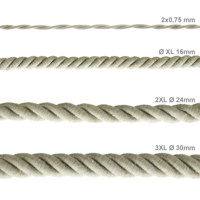 Cordón XL, cable eléctrico 3x0,75, recubierto en lino natural. Diámetro: 16mm.