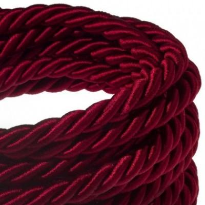 Cordón XL, cable eléctrico 3x0,75, recubierto en tejido burdeos oscuro brillante. Diámetro: 16mm.