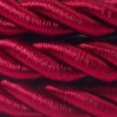 Cordón 2XL, cable eléctrico 3x0,75, recubierto en tejido burdeos oscuro brillante. Diámetro: 24mm.