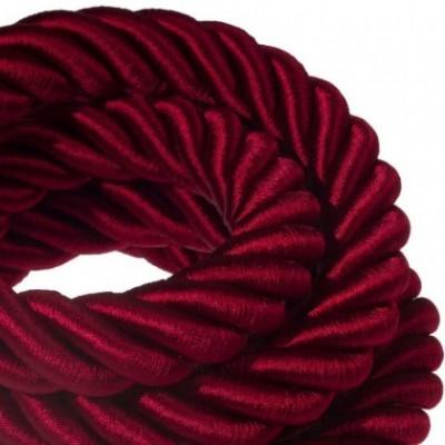 Cordón 3XL, cable eléctrico 3x0,75, recubierto en tejido burdeos oscuro brillante. Diámetro: 30mm.