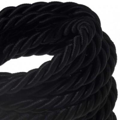 Cordón XL, cable eléctrico 3x0,75, recubierto en tejido negro brillante. Diámetro: 16mm.