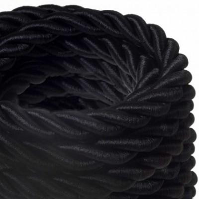 Cordón 2XL, cable eléctrico 3x0,75, recubierto en tejido negro brillante. Diámetro: 24mm.