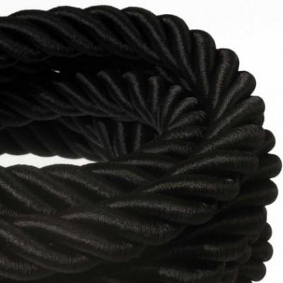 Cordón 3XL, cable eléctrico 3x0,75, recubierto en tejido negro brillante. Diámetro: 30mm.