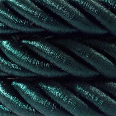 Cordón 2XL, cable eléctrico 3x0,75, recubierto en tejido verde oscuro brillante. Diámetro: 24mm.