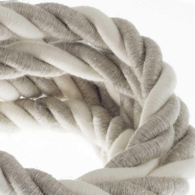 Cordón 2XL, cable eléctrico 3x0,75, recubierto en lino natural y algodón en bruto. Diámetro: 24mm.