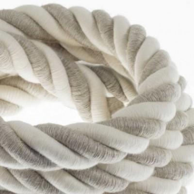 Cordón 3XL, cable eléctrico 3x0,75, recubierto en lino natural y algodón en bruto. Diámetro: 30mm.
