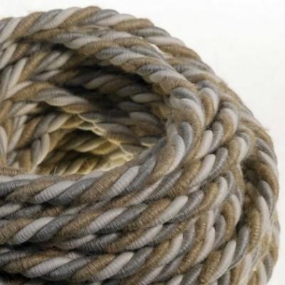 Cordón XL, cable eléctrico 3x0,75. Revestimiento de yute, algodón y lino Country. Diámetro: 16mm.