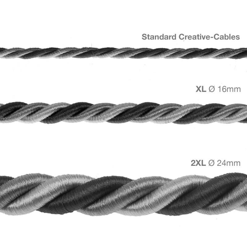 Cordón 2XL, cable eléctrico 3x0,75. Revestimiento de tejido lucído Orleans. Diámetro: 24mm.