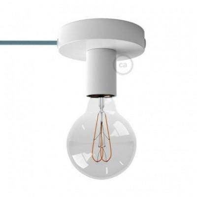 Spostaluce, fuente de luz de metal blanco con cable textil y orificios laterales