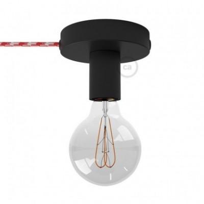 Spostaluce, fuente de luz de metal negro con cable textil y orificios laterales