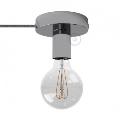 Spostaluce, fuente de luz de metal cromado con cable textil y orificios laterales