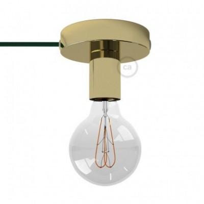 Spostaluce, fuente de luz de metal latón con cable textil y orificios laterales
