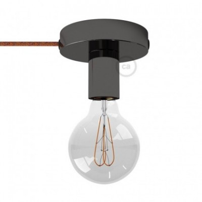 Spostaluce, fuente de luz de metal negro perla con cable textil y orificios laterales