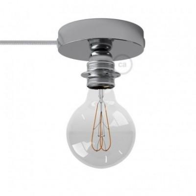 Spostaluce, en metal cromado con portalámparas roscado E27, cable textil y orificios laterales
