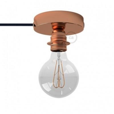 Spostaluce, en metal cobre con portalámparas roscado E27, cable textil y orificios laterales