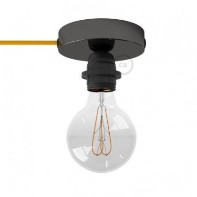 Spostaluce, en metal negro perla con portalámparas roscado E27, cable textil y orificios laterales