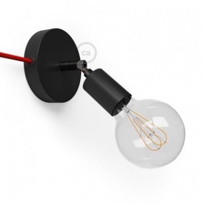 Spostaluce Metallo 90° negro orientable, con cable textil y orificios laterales