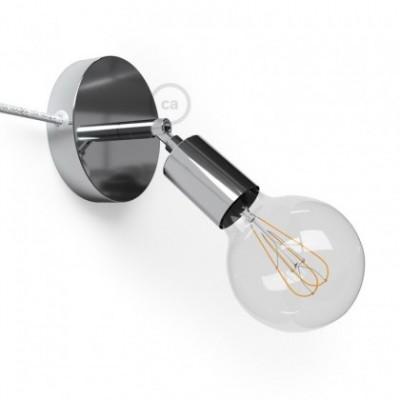 Spostaluce Metallo 90° cromado orientable, con cable textil y orificios laterales