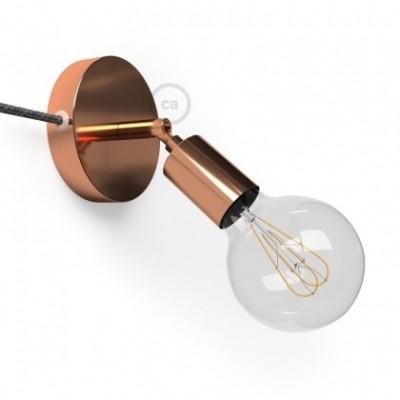 Spostaluce Metallo 90° cobre orientable, con cable textil y orificios laterales