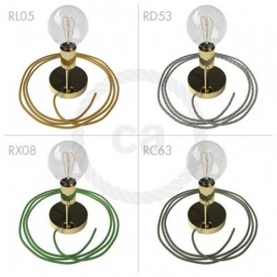 Spostaluce Metallo 90° latón orientable, con cable textil y orificios laterales