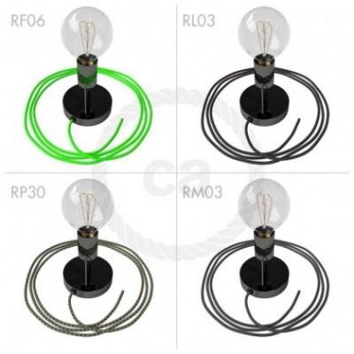 Spostaluce Metallo 90° negro perla orientable, con cable textil y orificios laterales