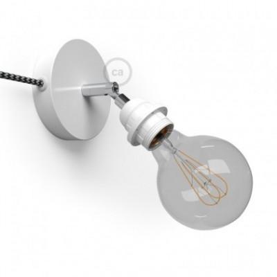Spostaluce Metallo 90° blanco orientable, con portalámparas roscado E27, cable textil y orificios laterales