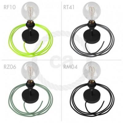 Spostaluce Metallo 90° negro orientable, con portalámparas roscado E27, cable textil y orificios laterales