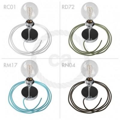 Spostaluce Metallo 90° cromado orientable, con portalámparas roscado E27, cable textil y orificios laterales