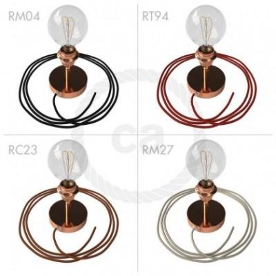 Spostaluce Metallo 90° cobre orientable, con portalámparas roscado E27, cable textil y orificios laterales
