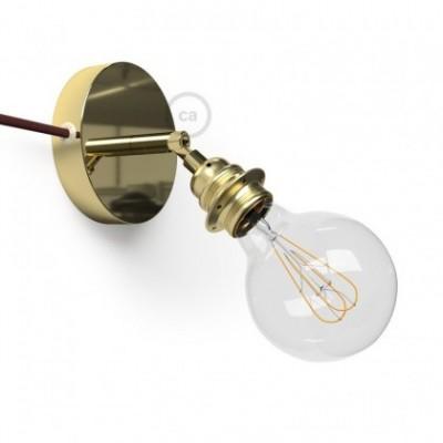 Spostaluce Metallo 90° latón orientable, con portalámparas roscado E27, cable textil y orificios laterales