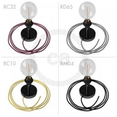 Spostaluce Metallo 90° negro perla orientable, con portalámparas roscado E27, cable textil y orificios laterales
