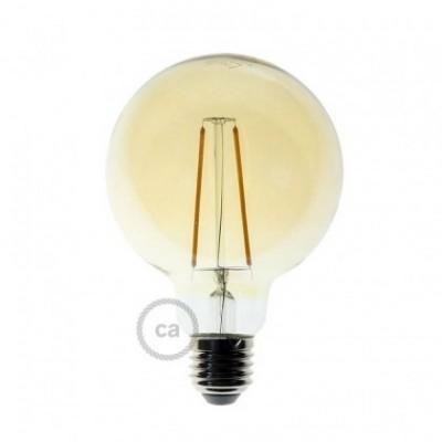 Bombilla ambar filamento recto LED globo G95 de 4W 2700K Dimerizable