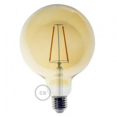 Bombilla dorada LED dimerizable Globo G125 filamento rectp 4W decorativa vintage 2700ºK