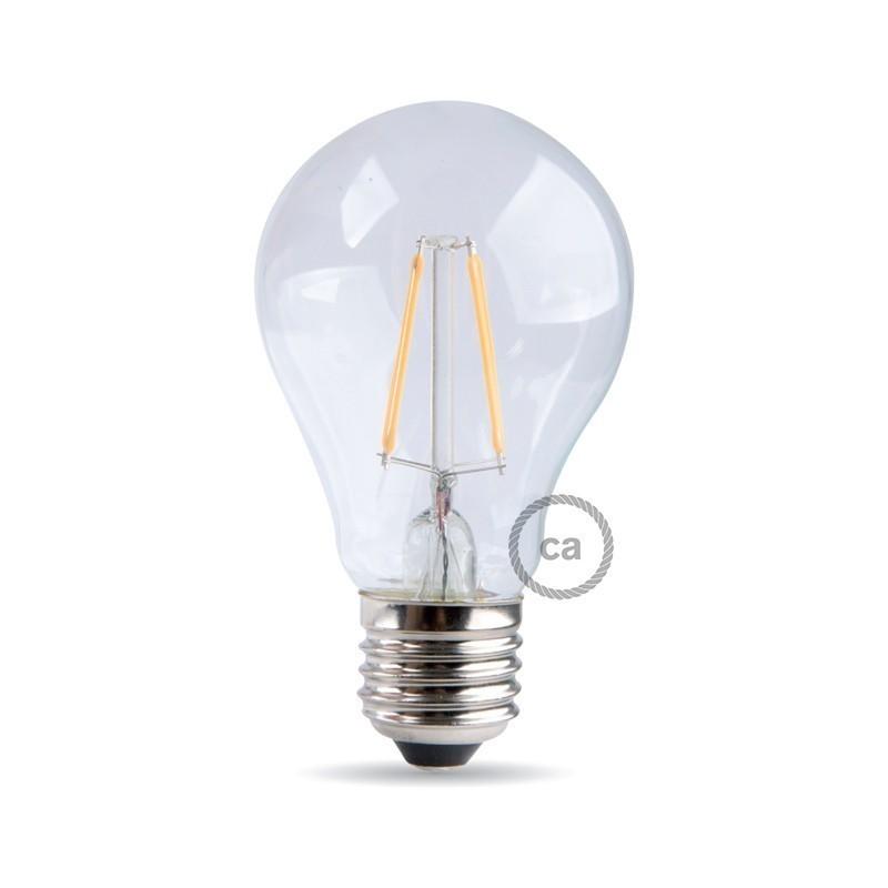 Bombilla clara filamento LED Standard A60 de 4W Luz cálida de 2700K