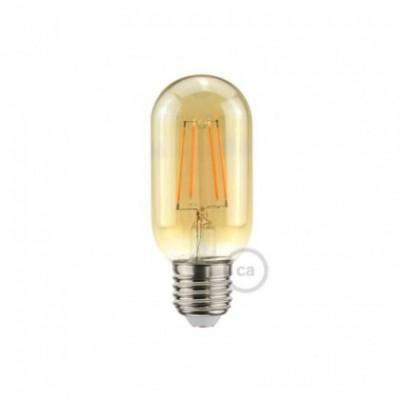 Bombilla dorada LED válvula T45 filamento recto 4W a 2200ºK