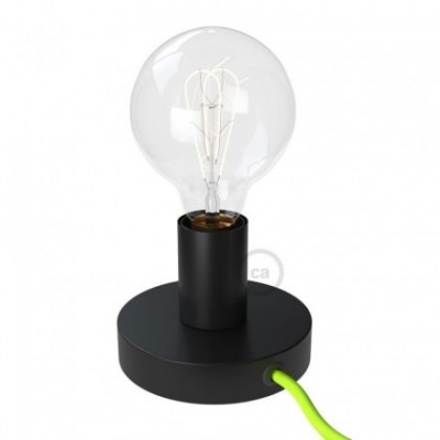 Posaluce, la lámpara de mesa en metal negro, con cable textil, interruptor y clavija bipolar