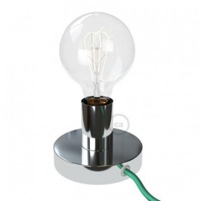 Posaluce, la lámpara de mesa en metal cromado, con cable textil, interruptor y clavija bipolar