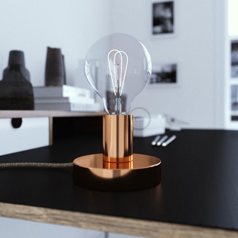 Posaluce, la lámpara de mesa en metal cobre, con cable textil, interruptor y clavija bipolar