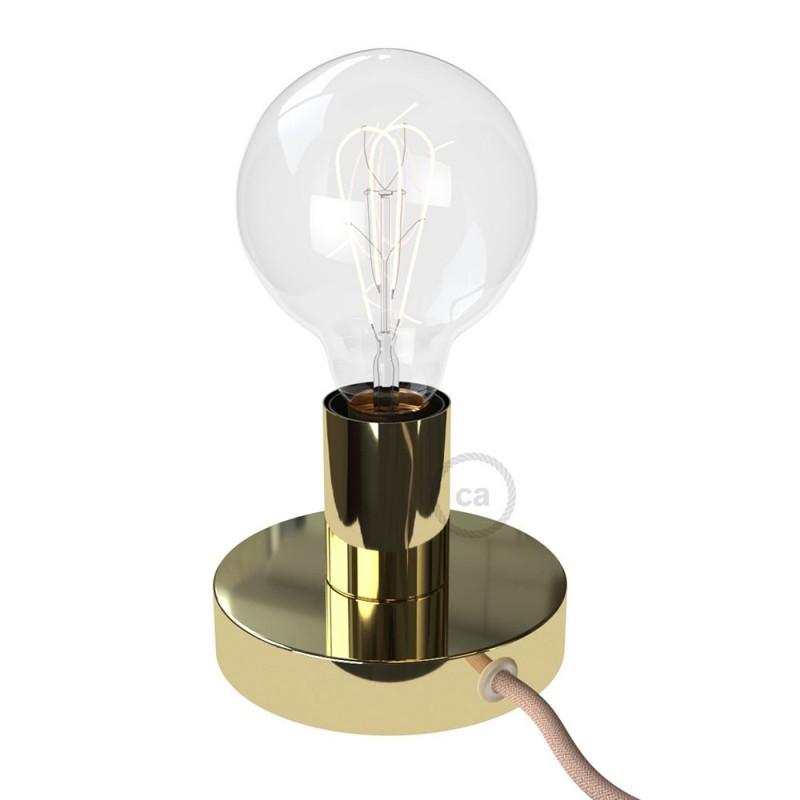 Posaluce, la lámpara de mesa en metal latón, con cable textil, interruptor y clavija bipolar