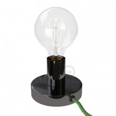 Posaluce, la lámpara de mesa en metal negro perla, con cable textil, interruptor y clavija bipolar
