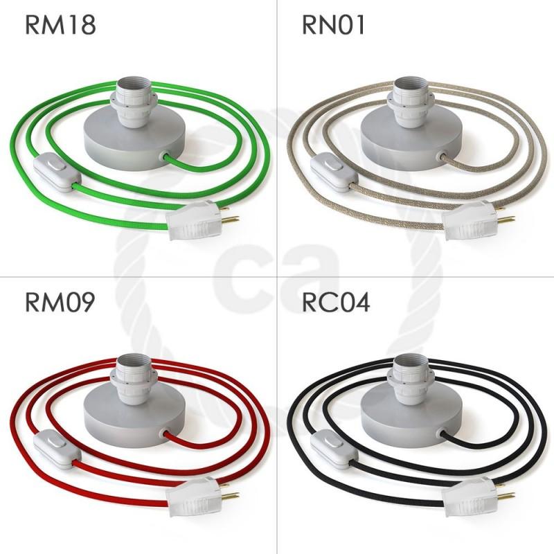 Posaluce, la lámpara de mesa para pantallas en metal blanco, cable textil, interruptor y clavija bipolar