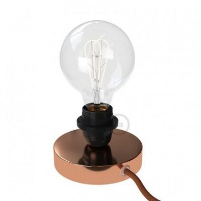 Posaluce, la lámpara de mesa para pantallas en metal cobre, cable textil, interruptor y clavija bipolar
