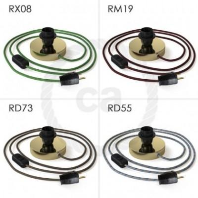Posaluce, la lámpara de mesa para pantallas en metal latón, cable textil, interruptor y clavija bipolar
