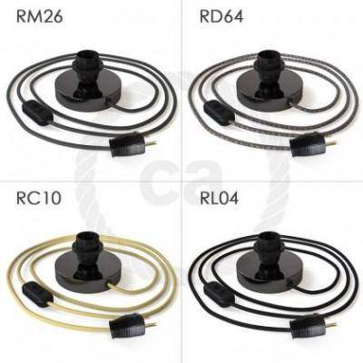 Posaluce, la lámpara de mesa para pantallas en metal negro perla, cable textil, interruptor y clavija bipolar