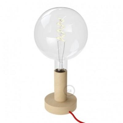 Posaluce Natural, la lámpara de mesa en madera natural de 14,2 cm, con cable textil, interruptor y clavija bipolar
