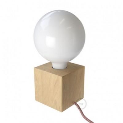 Posaluce Cubetto, la lámpara de mesa en madera natural, con cable textil, interruptor y clavija bipolar